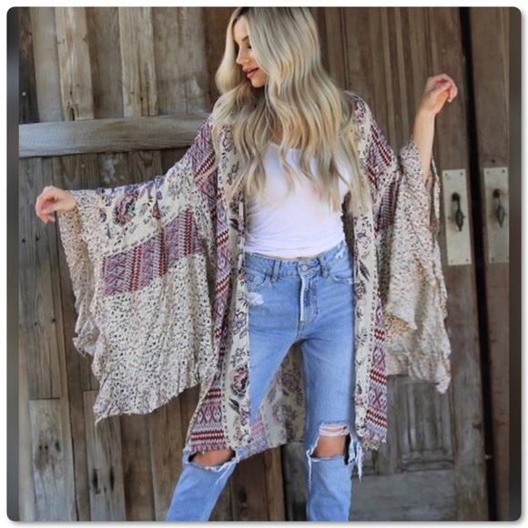 759acfd08e1 Boho Style Angie Wide Ruffle Sleeves Kimono Duster